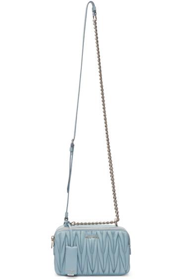 Miu Miu - Blue Mattelassé Double Zip Camera Bag