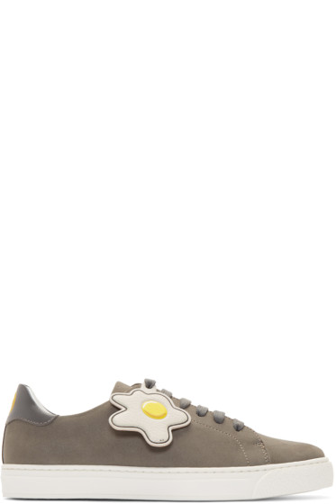 Anya Hindmarch - Grey Wink & Egg Tennis Sneakers