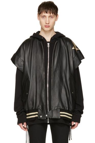 Faith Connexion - Black Leather Stars Bomber Jacket