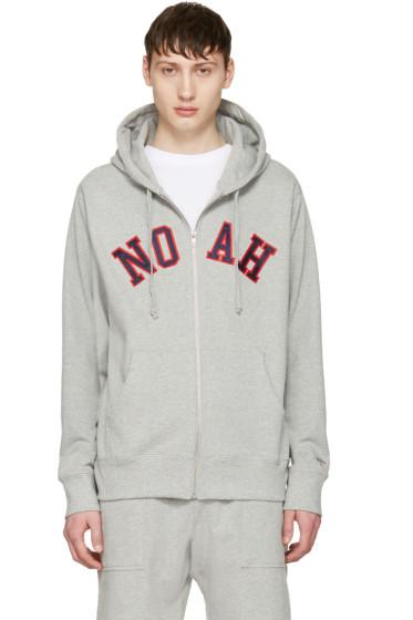 Noah NYC - Grey Logo Zip Hoodie