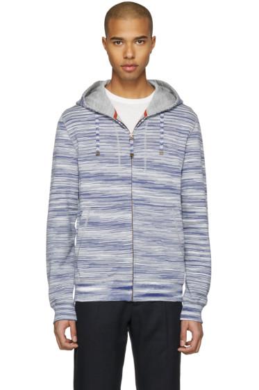 Missoni - Blue Striped Zip Hoodie