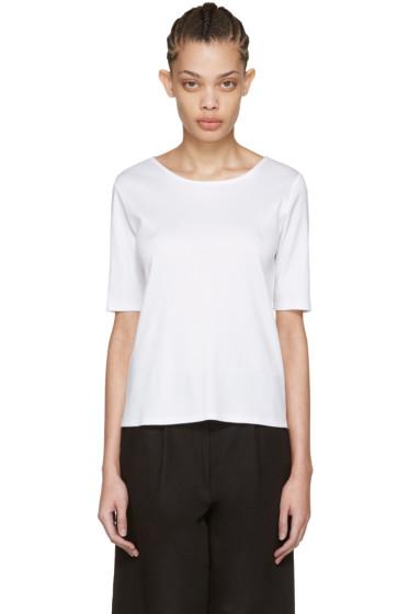 Moderne - ホワイト ファイン リブ T シャツ