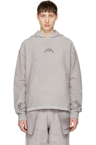 A-Cold-Wall* - Reversible Grey Oversized Logo Hoodie