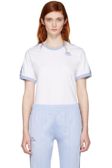 Kappa - SSENSE Exclusive White & Blue Authentic Vale T-Shirt