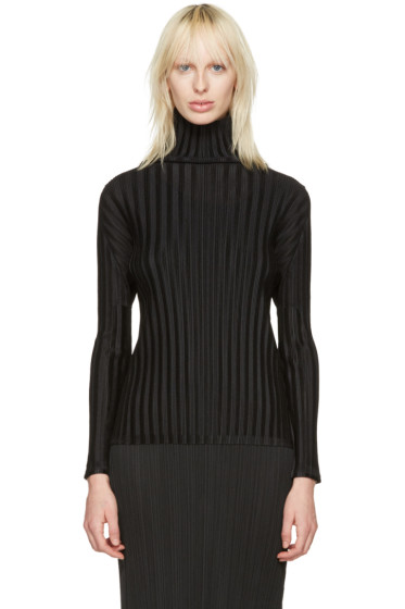 Pleats Please Issey Miyake - Black Pleated Turtleneck