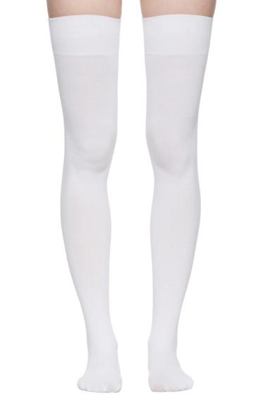 Marieyat - White Doodle Thigh-High Socks