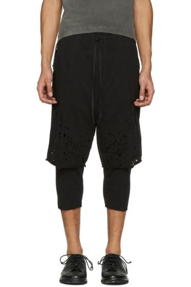 The Viridi-anne - Black Destroyed Layered Shorts