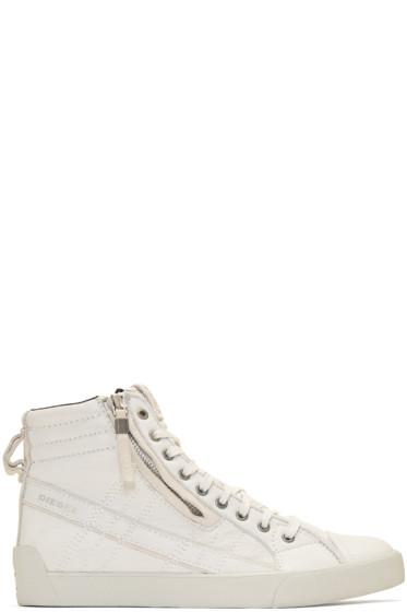 Diesel - Off-White D-String Plus High-Top Sneakers
