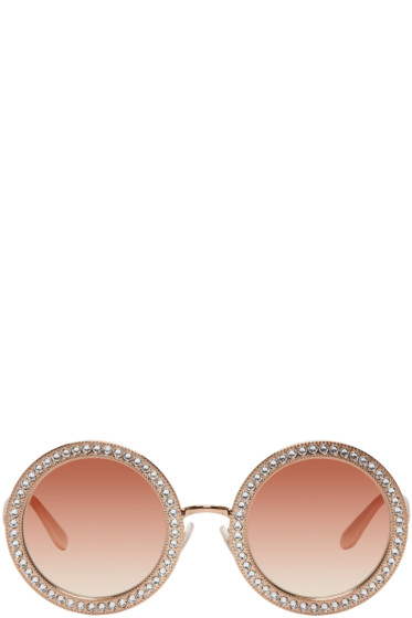 Dolce & Gabbana - Rose Gold Round Crystal Sunglasses