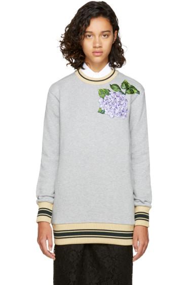 Dolce & Gabbana - Pull molletonné fleuri gris