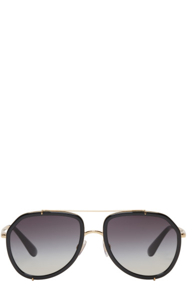 Dolce & Gabbana - Gold & Black Aviator Sunglasses