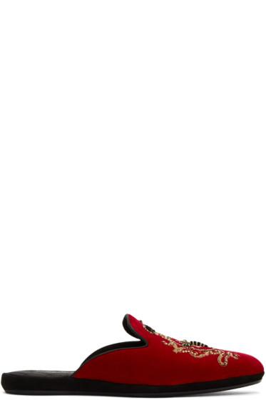 Dolce & Gabbana - Red Embroidered Velvet Slippers