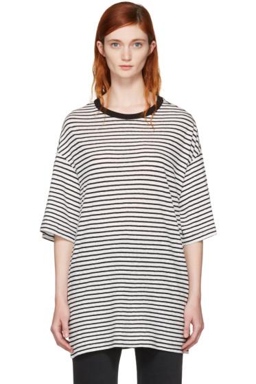 R13 - Black & White Striped Boyfriend T-Shirt