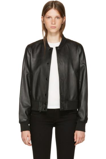 Rag & Bone - Black Leather Cooper Bomber Jacket
