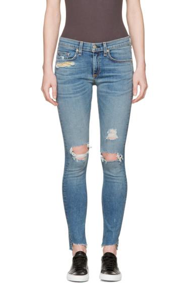 Rag & Bone - Blue Distressed Skinny Jeans