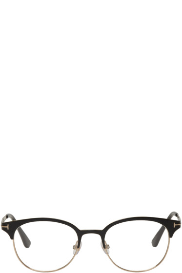 Tom Ford - Black & Gold Titanium Round Glasses