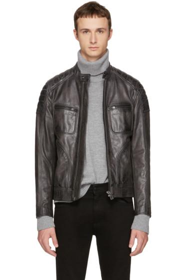 Belstaff - Grey Leather Weybridge Jacket