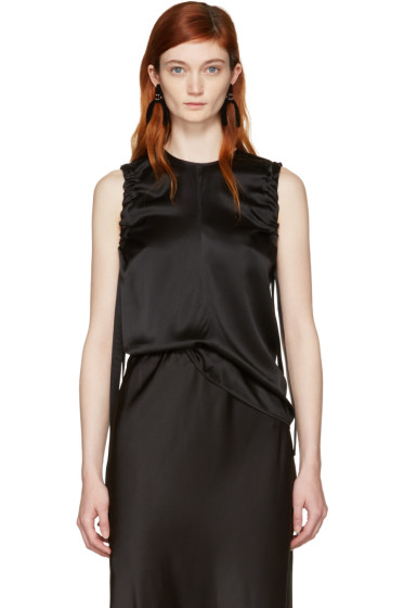 Helmut Lang - Black Armhole Ruched Silk Tank Top