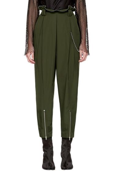 Alexander Wang - Green High-Waisted Ballchain Army Trousers