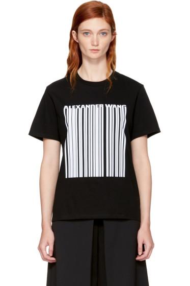 Alexander Wang - Black Boxy Crewneck Barcode T-Shirt