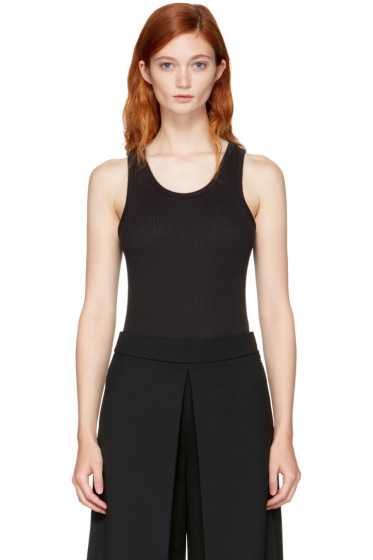 T by Alexander Wang - Black Sleeveless Ribbed Bodysuit