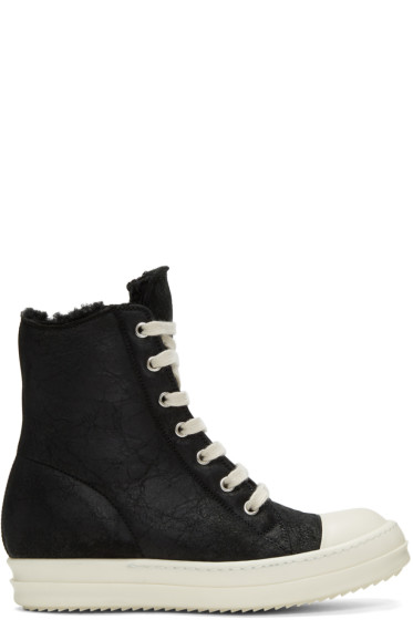 Rick Owens - Black Shearling High-Top Sneakers