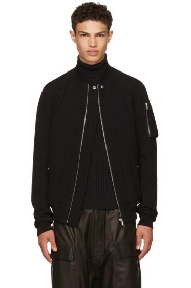 Rick Owens - Black Wool Flight Bomber Jacket