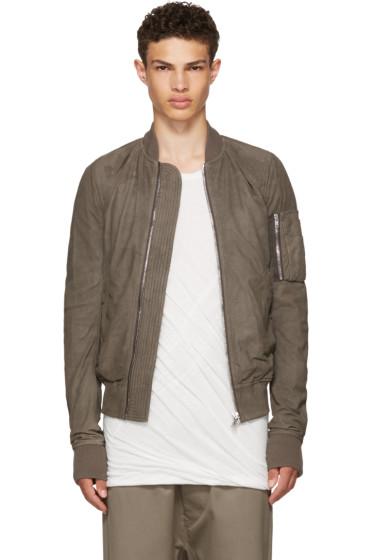 Rick Owens - Grey Leather Raglan Bomber Jacket