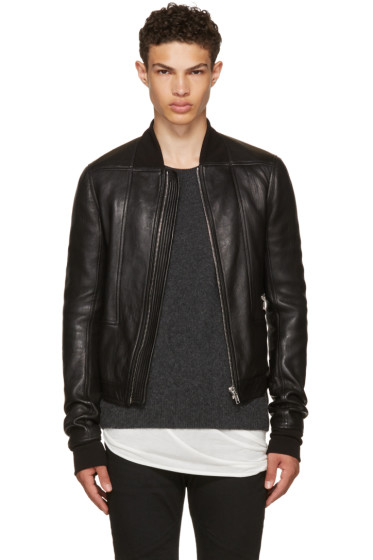 Rick Owens - Black Leather Geo Harness Bomber Jacket