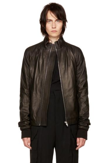 Rick Owens - Black Leather Intarsia Jacket