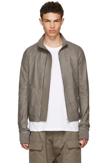Rick Owens - Grey Leather Intarsia High Neck Jacket