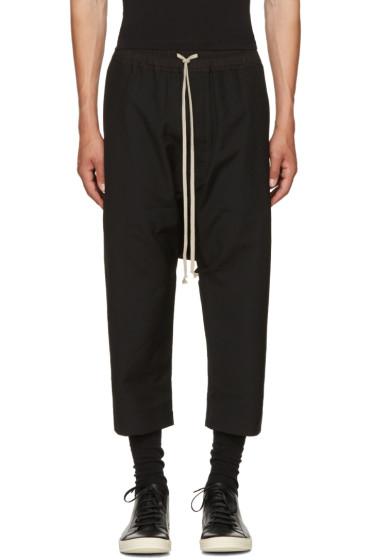Rick Owens - Black Wool Cropped Drawstring Trousers