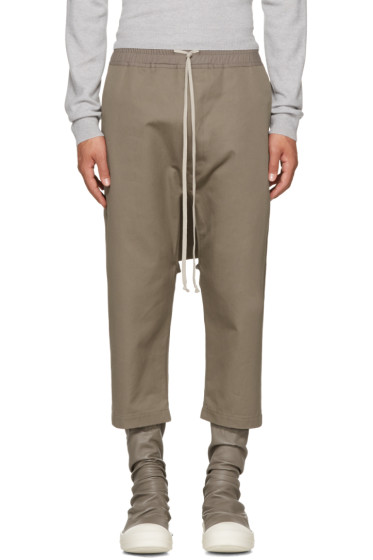Rick Owens - Grey Cropped Drawstring Trousers