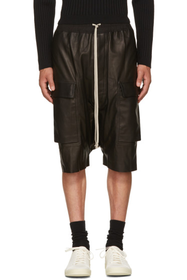 Rick Owens - Black Leather Pods Cargo Shorts