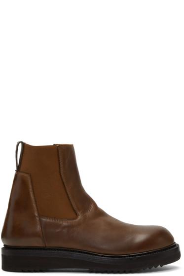 Rick Owens - Brown Creeper Elastic Boots