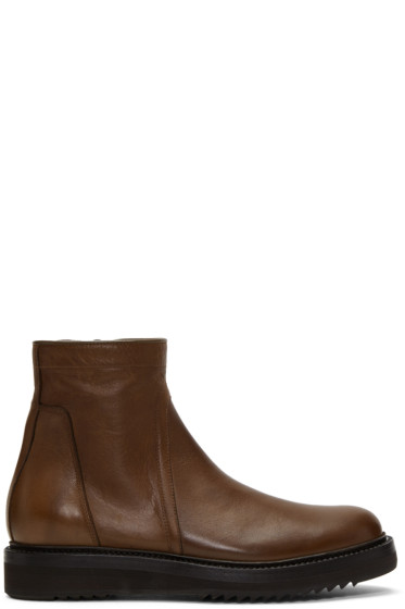 Rick Owens - Brown Low Creeper Zip Boots