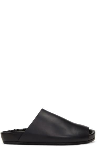 Rick Owens - Black Shearling Granola Sandals