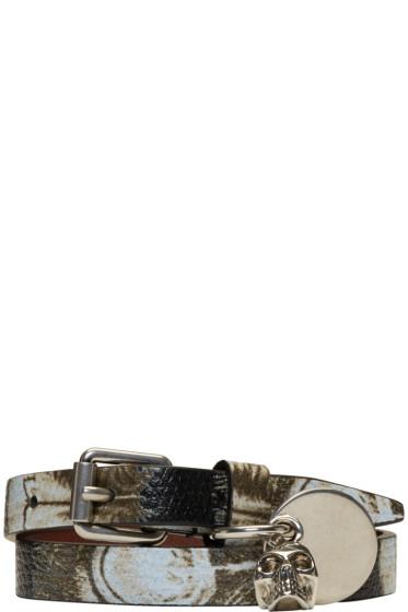 Alexander McQueen - Black & Ivory Skull Charm Double Wrap Bracelet