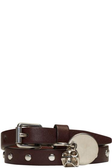 Alexander McQueen -  Brown Studded Skull Charm Double Wrap Bracelet