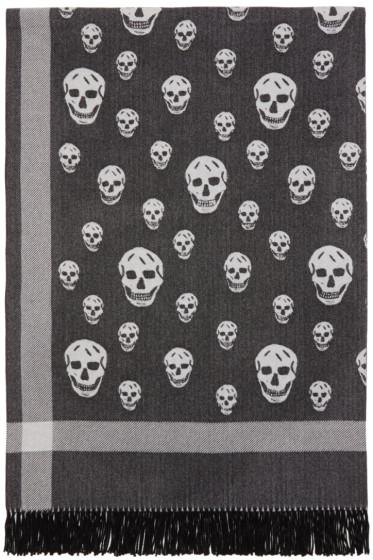 Alexander McQueen - Black & Off-White Skull Blanket Scarf