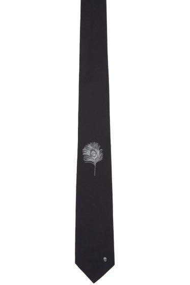 Alexander McQueen - Black Peacock Feather Tie