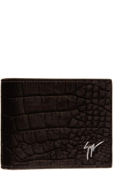 Giuseppe Zanotti - Brown Velvet Croc-Embossed Wallet