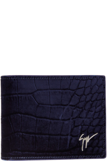 Giuseppe Zanotti - Navy Velvet Croc-Embossed Wallet