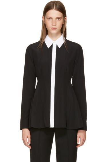 Givenchy - Black Silk Contrast Collar Blouse