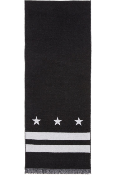 Givenchy - Black Stars & Double Stripes Scarf