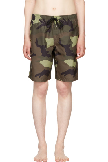 Givenchy - Green Camo Swim Shorts