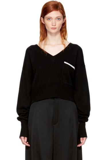 Chloé - Black Pocket V-Neck Sweater
