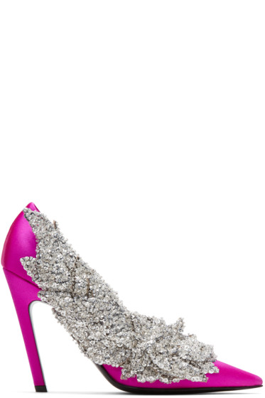 Balenciaga - Pink Satin Sequin Heels