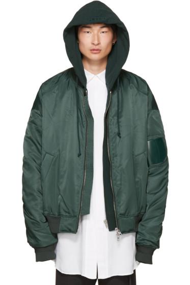 Juun.J - Green Hooded Bomber Jacket