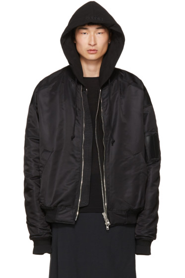Juun.J - Black Hooded Bomber Jacket
